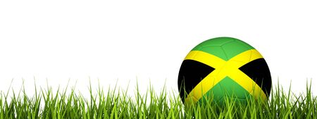 3d rendering of a soccer ball on grass.Jamaica photo