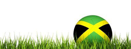 jamaica: 3d rendering of a soccer ball on grass.Jamaica