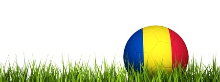romania flag: 3d rendering of a soccer ball on grass.Romania