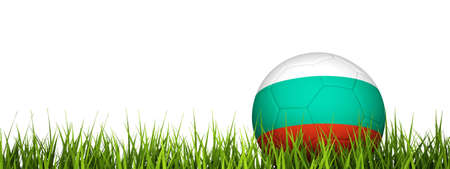 3d rendering of a soccer ball on grass.Bulgaria