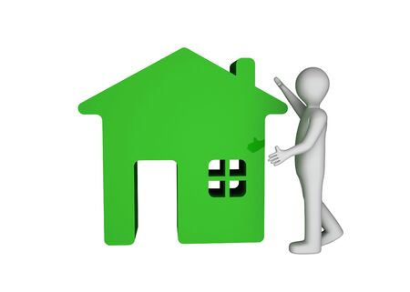 3d man house icon home photo