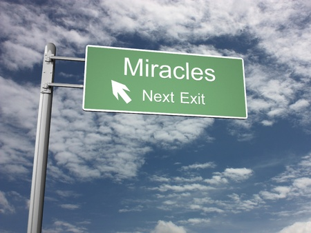 miracles: Freeway Exit Sign Stock Photo