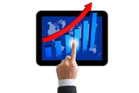 Businessman touch a tablet pc photo