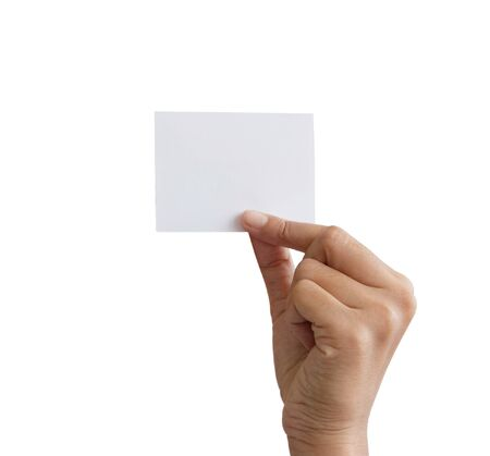 hand holding a white card. photo
