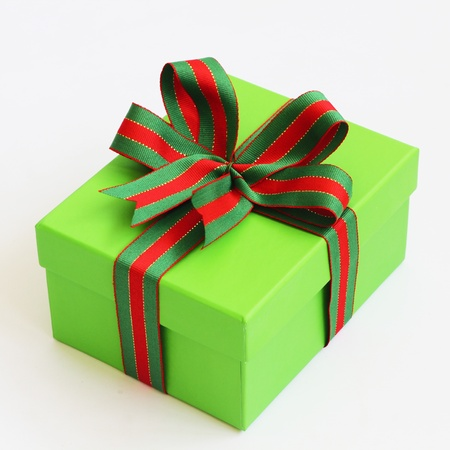 Green box with a ribbon bow  photo
