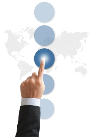 businessman s hand pushing the button  Stock Photo