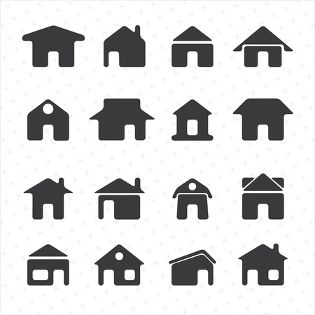 penthouse: House icon set Illustration