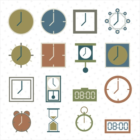 clocks icons set Vector