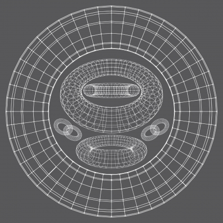 Torus Shapes Wireframe Vector