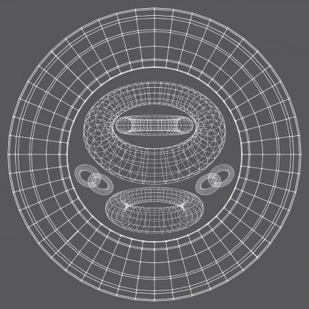 icon 3d: Torus Shapes Wireframe Illustration