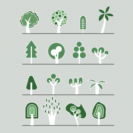 Trees icons set  Vector