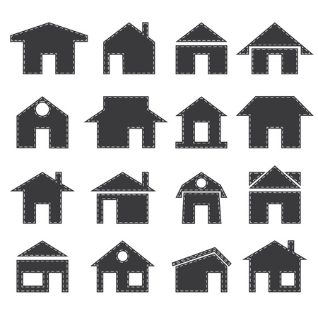 detached house: House icon set Illustration