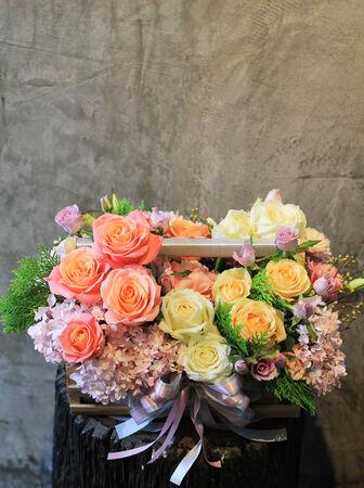 beautiful flowers in basket Stock Photo