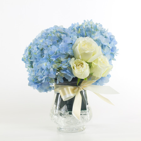blue rose: Flower bouquet in vase isolated.