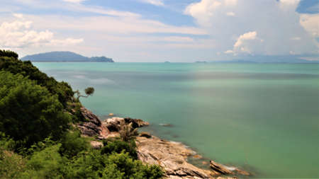 sea coast with rocks at Khao Pladam Khanom Nakhon si thummarat Thailand