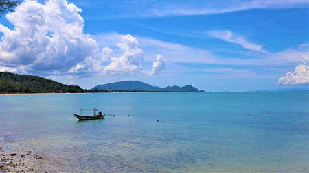 sea coast with  fishing boat at Khao Pladam Khanom Nakhon si thummarat Thailand