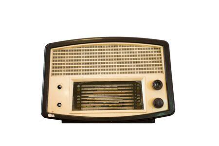 shortwave: antique radio on white background