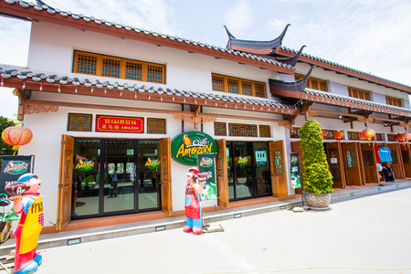 famous industries: July 15 ,2015 Supanburi Thailand. Amazon china style , This is the coffee store in the Thailand.