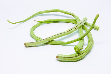 long beans: Long beans on white background Stock Photo