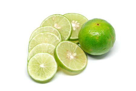 lemon wedge: Lime on a white background