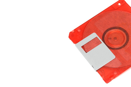 Red 3.5-inch diskette White background Stock Photo