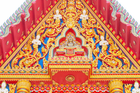 buddhist temple roof: Close up of a detailed roof of a Buddhist temple