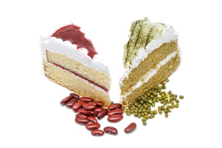 Green tea cake with strawberry cake. White background Stock Photo