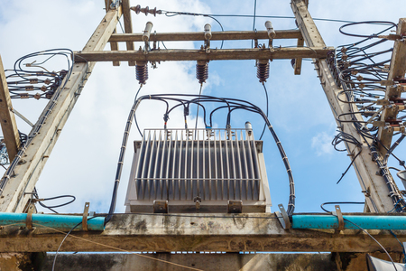 Electric transformer on electric pole