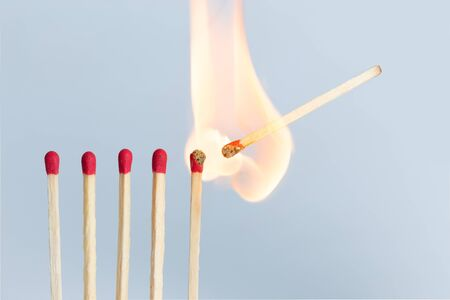 Matches in group burning safety-match with red, orange, yellow fire. Isolated on white background detail blur