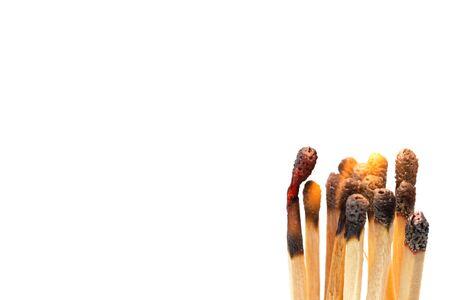 Closeup group of Burning matches on white Stock Photo