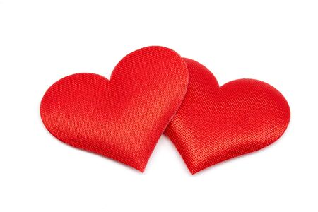 Red double heart on a white background with clipping Path Stockfoto