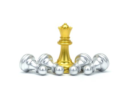 Silver and gold chessman isolated on a white background detail object art Stockfoto
