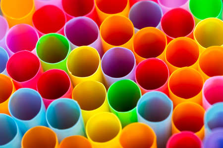 Closeup straws in various designs, color detail art