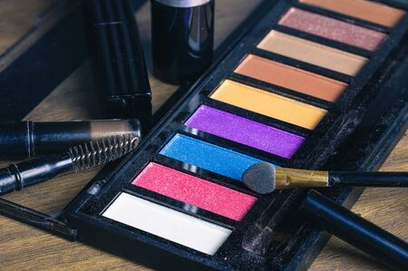 Closeup colorful makeup products and cosmetics detail object art Stockfoto
