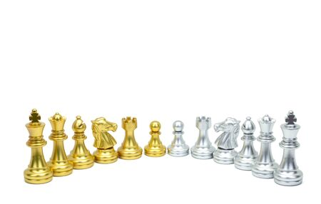 Golden and silver chess piece stand in a row isolated on white background. Stockfoto