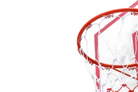 Hoop basketball in a row isolated on white background detail object