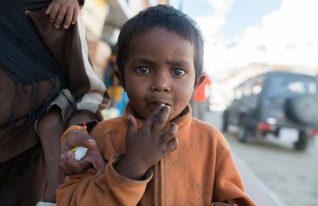 impoverished: Leh Ladakh , India - August 6: Unidentified Children in leh market 6, 2015