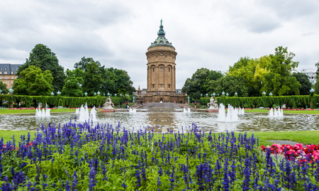 beauty fountain: Water tower in Mannheim, Germany.