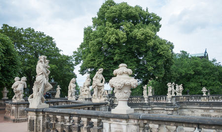 rampart: Richly sculptured Rampart Pavilion. Zwinger Palace - Dresden , Germany Editorial