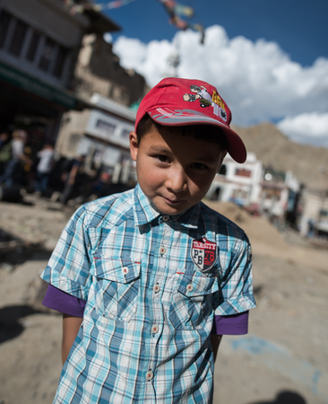 Leh Ladakh , India - August 6: Unidentified Children in leh market 6, 2015
