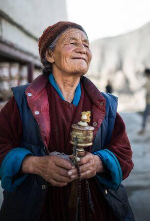 Leh Ladakh , India - August 6, 2015 :  Unidentified buddhist old women in Leh Ladakh, India