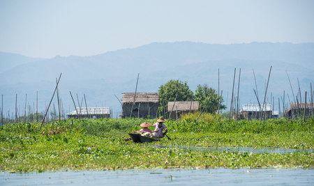 Villagers in Inle Lake, Shan State, Myanmar Stock Photo