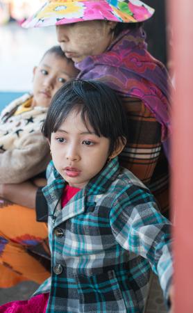 Kyaikhtiyo, Myanmar -  February 22: Unidentified Children in Kyaikhtiyo, Myanmar 22, 2017