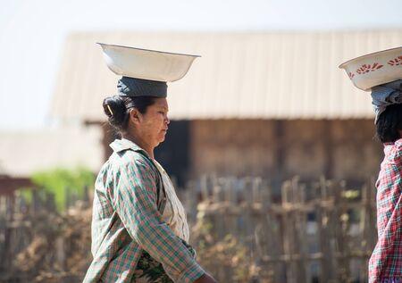 Kyaikhtiyo, Myanmar -  February 26: Unidentified People in Kyaikhtiyo, Myanmar 26, 2017
