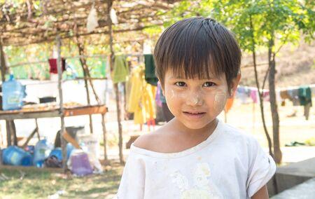 Kyaikkhami, Myanmar -  February 20: Unidentified Children Smiling in Kyaikkhami, Myanmar 20, 2017 Editorial