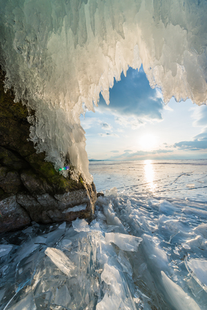 Frozen Ice Cave Baikal Lake, Russia