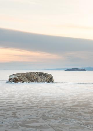Frozen Lake Baikal near Olkhon Island, Russia Stok Fotoğraf - 75782625