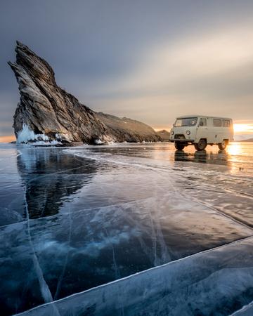 Frozen Lake Baikal near Ogoy island, Russia Stok Fotoğraf