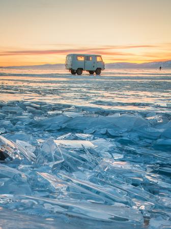 Frozen ice Baikal Lake in winter, Russia Stock Photo