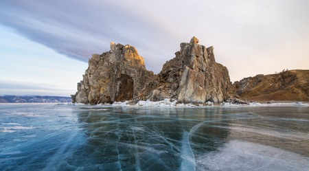 shamanism: Frozen Lake Baikal at Shamanka rock, Russia